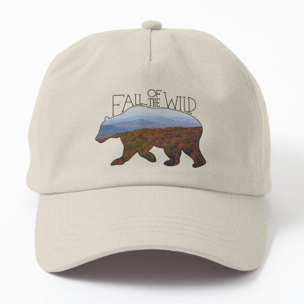 Fall of the Wild Autumn Mountain Wilderness Landscape Bear Silhouette On Brown Dad Hat