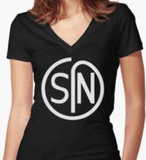NJS SIN T-Shirt White Print Women's Fitted V-Neck T-Shirt