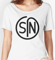 NJS SIN T-Shirt Black Print Women's Relaxed Fit T-Shirt