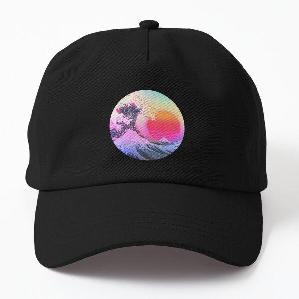 Great Wave Off Kanagawa Vaporwave Retro Aesthetic Dad Hat