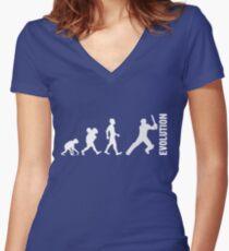 Evolution - Cricket (design 2) Tailliertes T-Shirt mit V-Ausschnitt