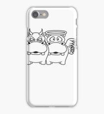 böse teufel satan dämon gewissen entscheidung lieb gut freundlich nett engel heilig heiligenschein flügel nilpferd klein dick hippo  iPhone Case/Skin