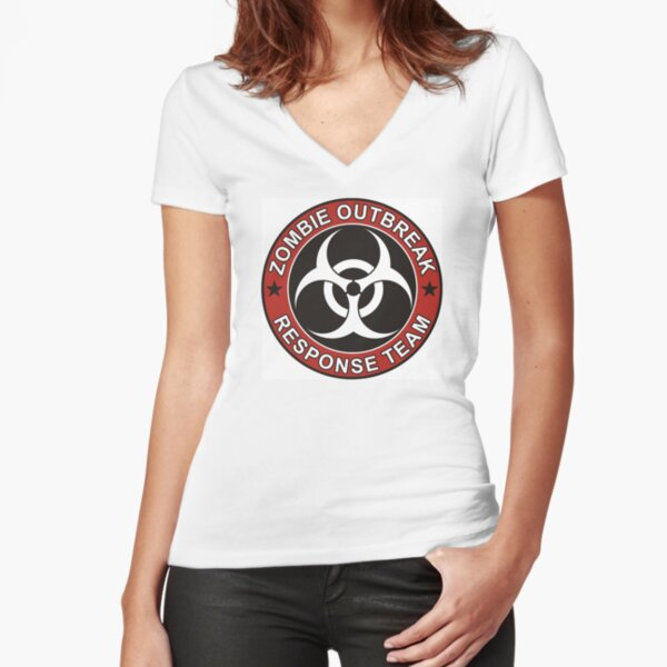 ZOMBIE RESPONSE TEAM 3 color Fitted V-Neck T-Shirt