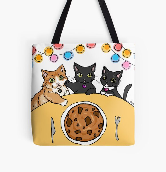 Cookie Cat - Modeled after my cats, family love, party, Chocolate chips cookie for you! All Over Print Tote Bag