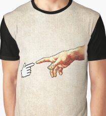 Funny 8bit Nerd & Geek Humor (Creation of Adam Parody) Graphic T-Shirt