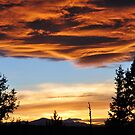 Firy Sunset over the Cascades by Marita Sutherlin