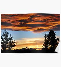 Firy Sunset over the Cascades Poster