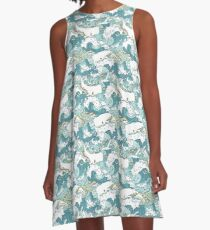 Whales and Waves Pattern A-Line Dress