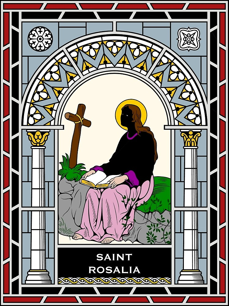 ST ROSALIA under STAINED GLASS by CatholicSaints