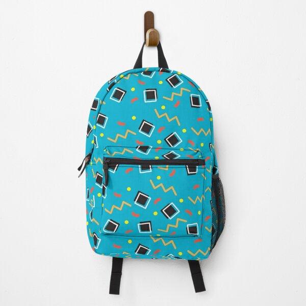 Blue and Black Geometric 90s Print Backpack