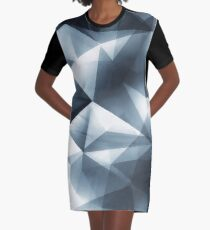 Abstract geometric triangle pattern ( Carol Cubism Style) in ice silver - gray Graphic T-Shirt Dress
