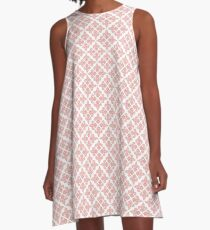 Fleur de Lis in Shades of Pink on White A-Line Dress