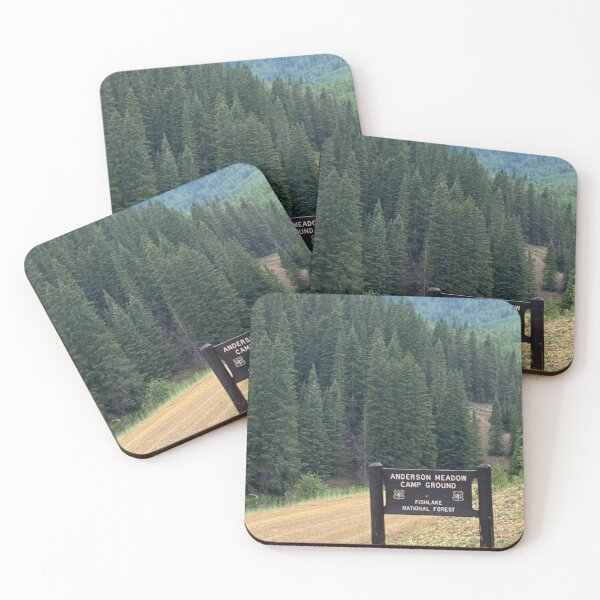 Entrance to Anderson Meadow Camp Ground Coasters (Set of 4)
