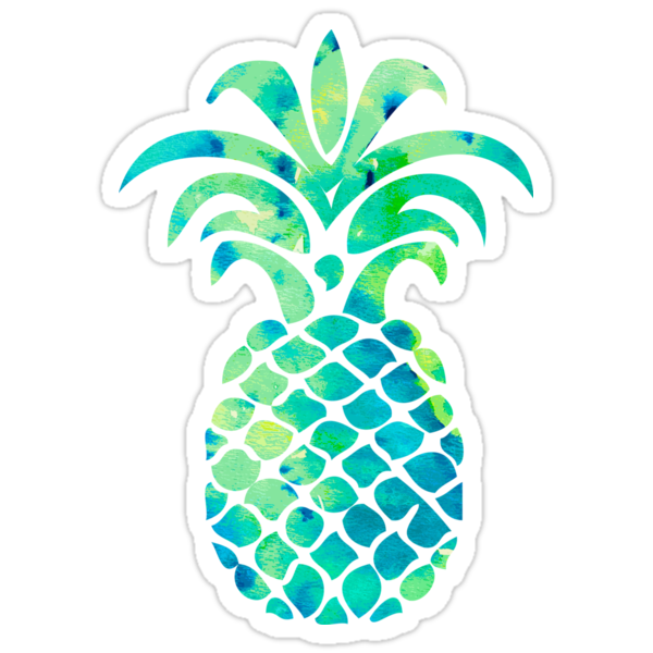 Quot Blue Watercolor Pineapple Quot Stickers By Lawjfree Redbubble