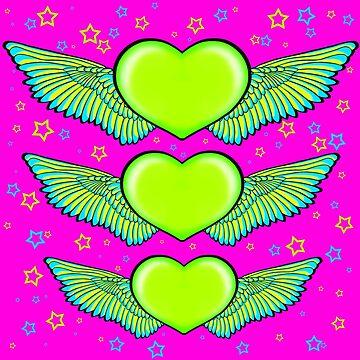 Love Heart Wings Design Green by Sookiesooker