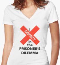 I Defect in the Prisoner's Dilemma Women's Fitted V-Neck T-Shirt