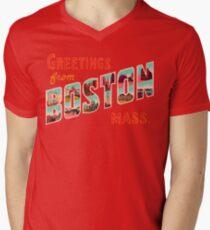 Greetings From Boston Mass Men's V-Neck T-Shirt