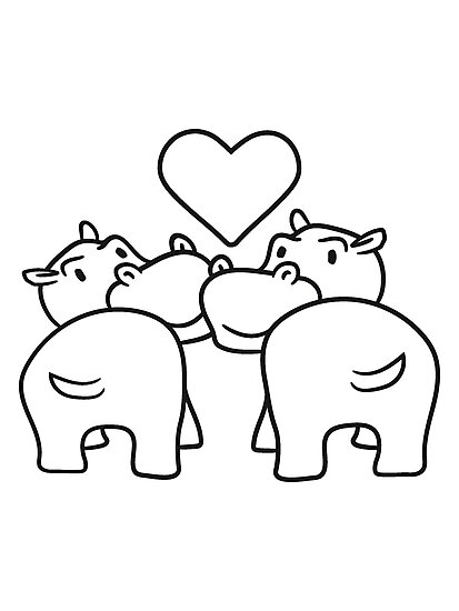 2 Amis équipe Embrasser Amour Couple Couple Amour Coeur épais Dessin Animé Comique Doux Petit Hippopotame Mignon Bébé Enfant Heureux Impression