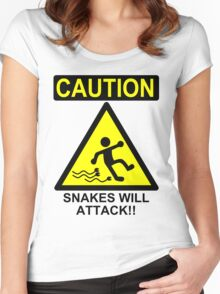 Caution: Snakes will Attack!! Women's Fitted Scoop T-Shirt