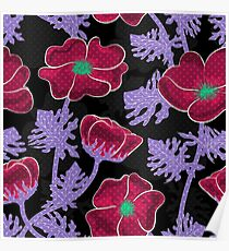 Blooming night . The floral pattern.  Poster