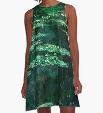 1904-Claude Monet-Waterlilies-89x92 A-Line Dress