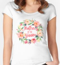 Floral Watercolor Wreath Mother Of The Groom Women's Fitted Scoop T-Shirt