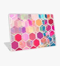 Rainbow Honeycomb - colorful hexagon pattern Laptop Skin