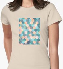 Child's Play 2 - hexagon pattern in soft blue, pink, peach & aqua Womens Fitted T-Shirt