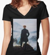 Man on edge of cliff by Caspar David Friedrich Women's Fitted V-Neck T-Shirt