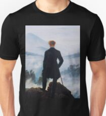 Man on edge of cliff by Caspar David Friedrich T-Shirt