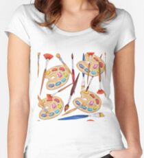 pattern palette with brushes Women's Fitted Scoop T-Shirt