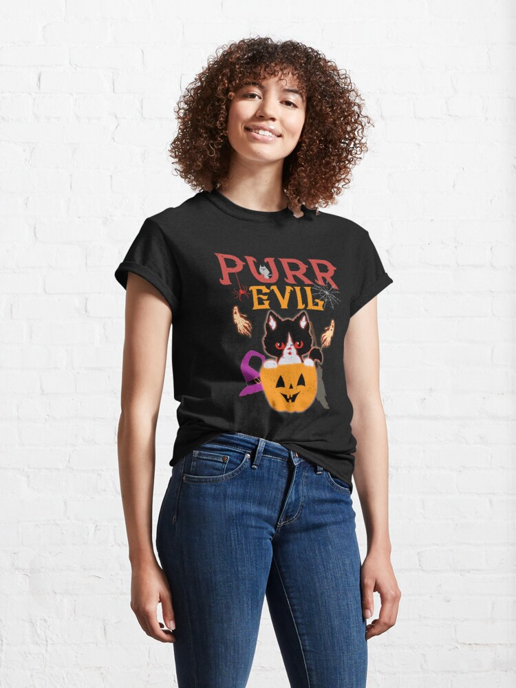 Alternate view of Purr Evil Cat Halloween Classic T-Shirt