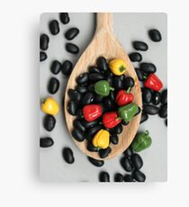 Black Beans & Bell Peppers Canvas Print