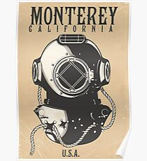 Vintage Diving poster to Monterey California USA Poster