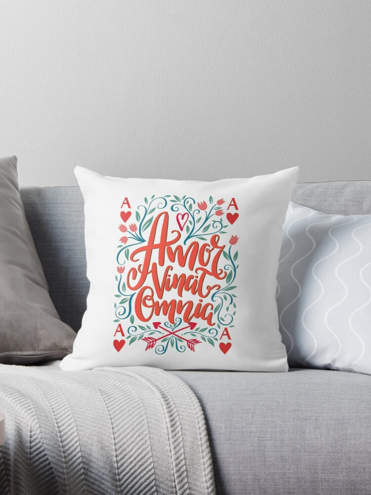 Amor Vincit Omnia Latin Phrase Love Conquers All Throw Pillows By