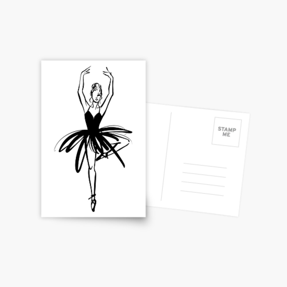 Ilustración gráfica dibujada a mano Ballet Dancer Postal