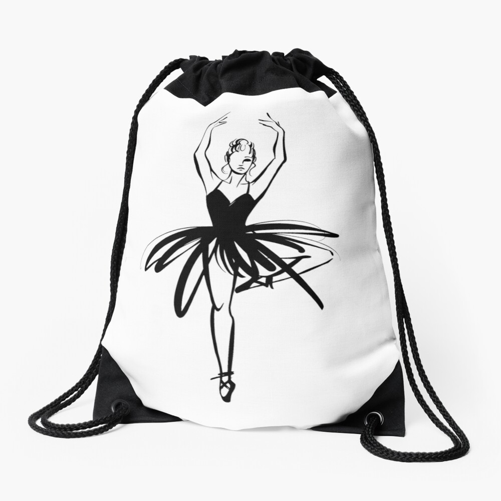Ilustración gráfica dibujada a mano Ballet Dancer Mochila saco