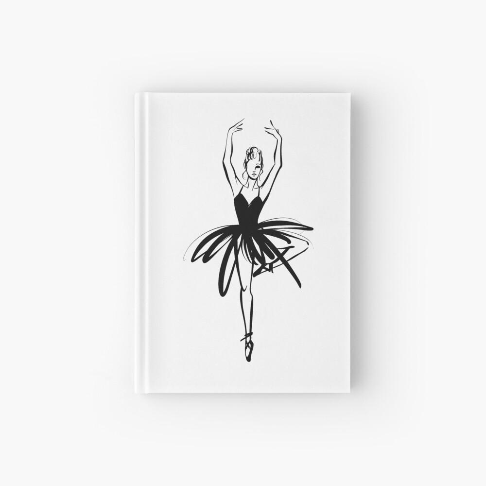 Ilustración gráfica dibujada a mano Ballet Dancer Cuaderno de tapa dura
