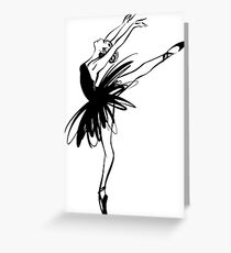 Ballerina in tutu in performance position. Greeting Card