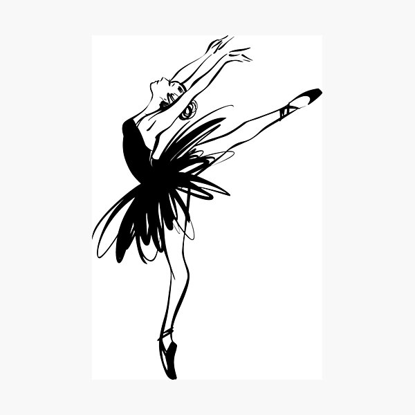 Ballerina in tutu in performance position. Photographic Print