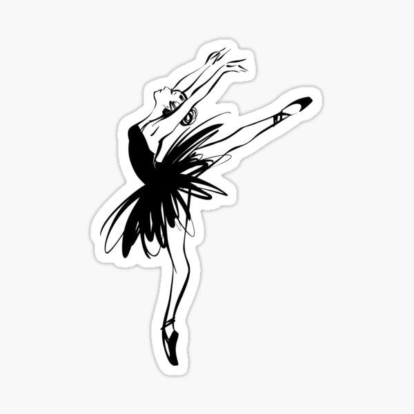 Ballerina in tutu in performance position. Sticker