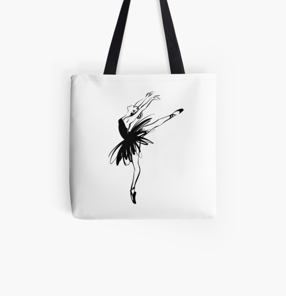 Ballerina in tutu in performance position. All Over Print Tote Bag