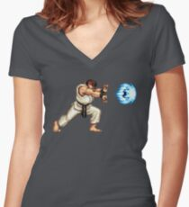 Ryo Hadouken Women's Fitted V-Neck T-Shirt
