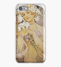 Alphonse Mucha - Flowers 1897  iPhone Case/Skin
