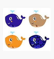 Whales, whales.. 4 floral cute whales Gift illustration / author originals Photographic Print