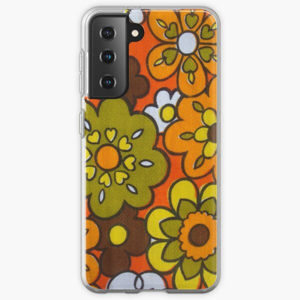 Retro Cool Mid Century Floral Fabric Design in Avocado Green, Harvest Gold, Brown, and Orange Samsung Galaxy Soft Case