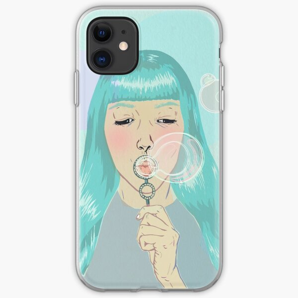 Blue Girl Blowing Bubbles iPhone Soft Case
