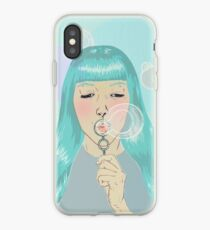 Blue Girl Blowing Bubbles iPhone Case
