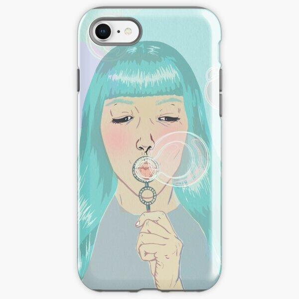 Blue Girl Blowing Bubbles iPhone Tough Case