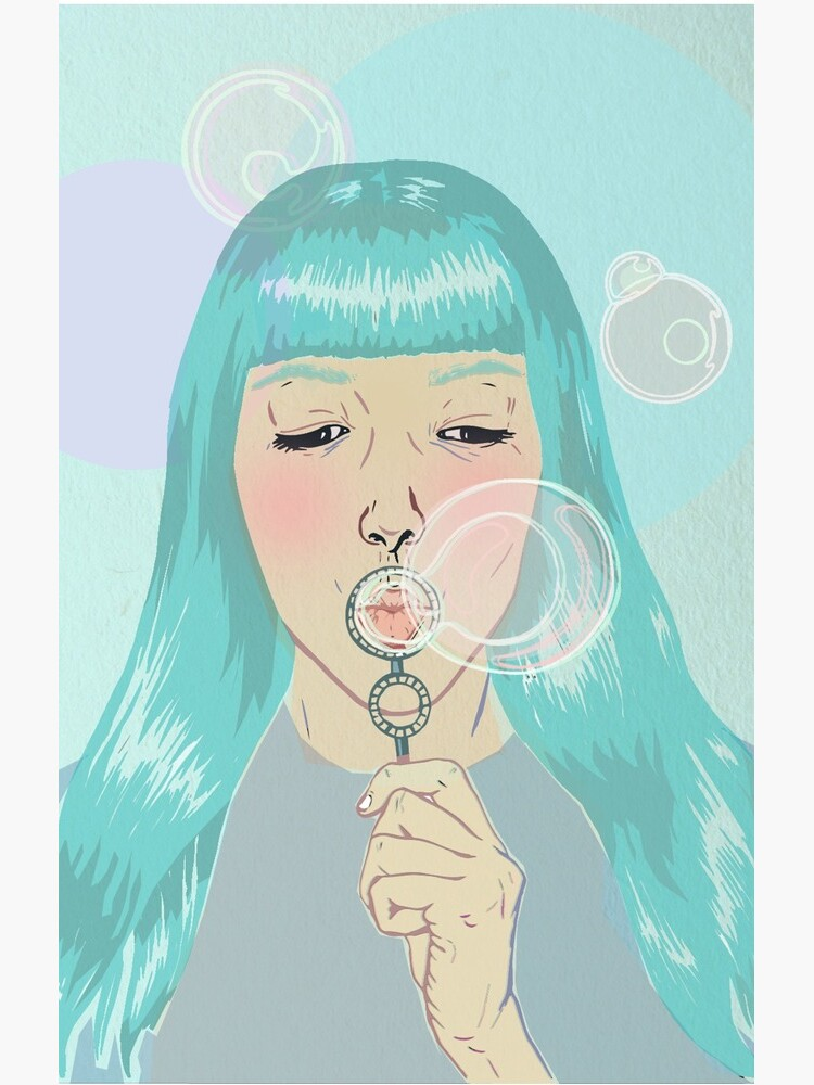 Blue Girl Blowing Bubbles by marichoo